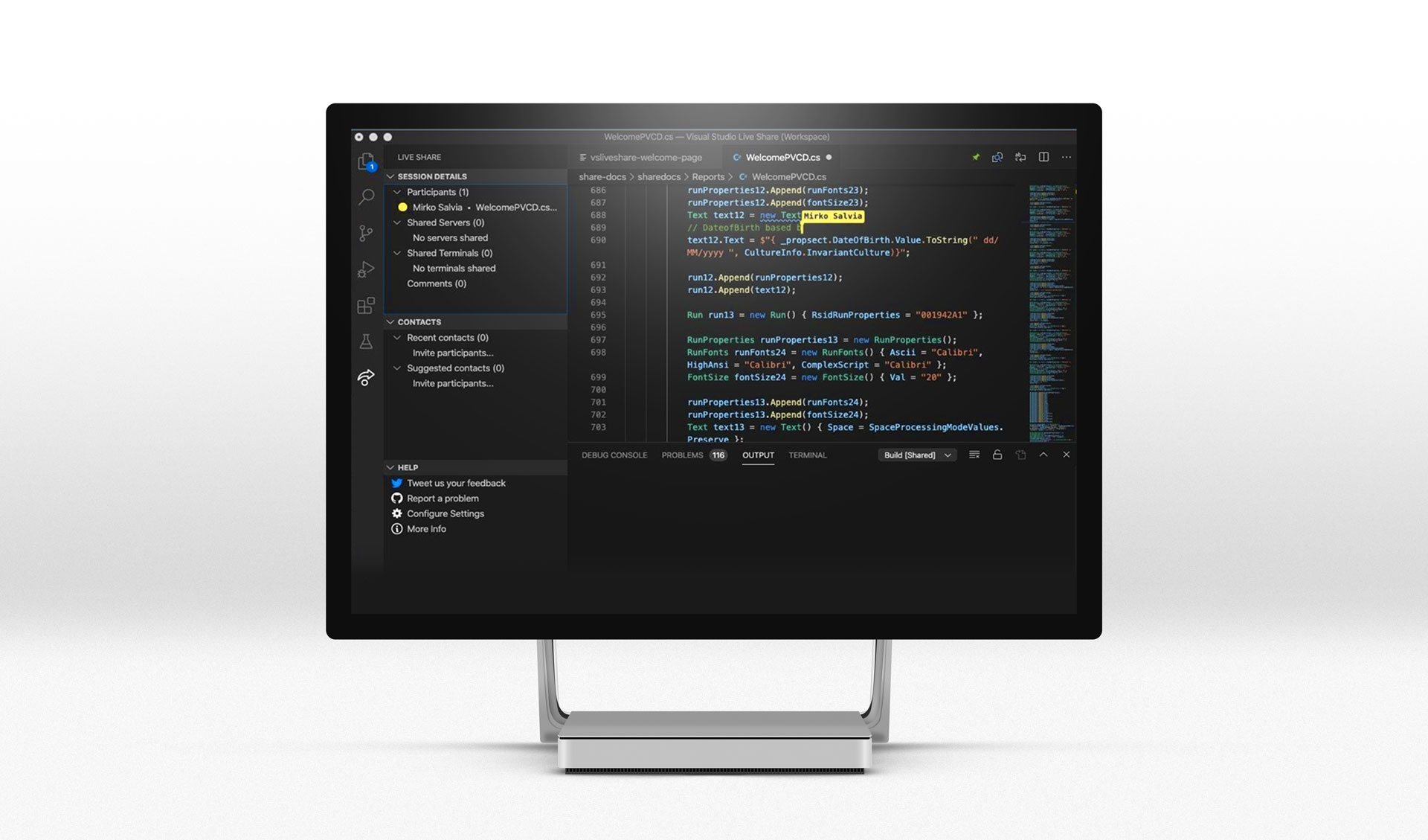 Schermata di VS Code in Live Share